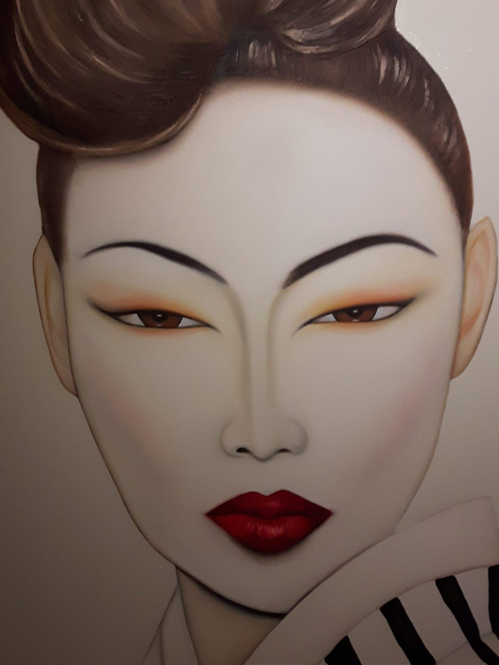 Japanse vrouw op groot schilderdoek